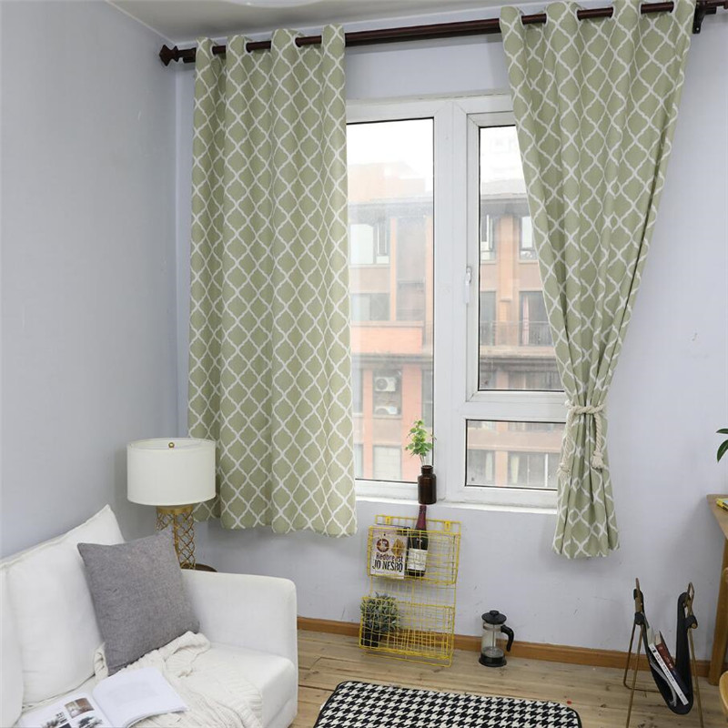 awesome light green living room curtains   Light green Nordic Style Linen Cotton Blackout Curtains ...