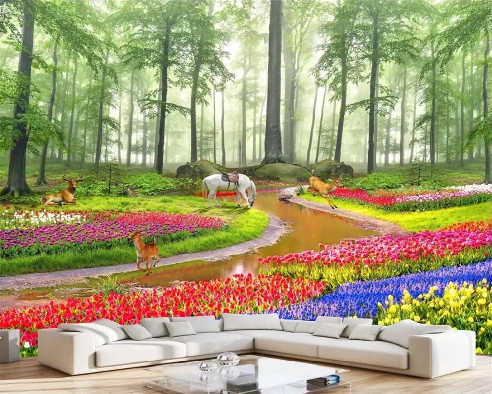 US $8 85 OFF Beibehang Wallpaper Kustom Foto Wallpaper Mural Indah Hutan Fantasi Bunga Laut 3D Latar Belakang Pemandangan Lukisan Dinding Custom