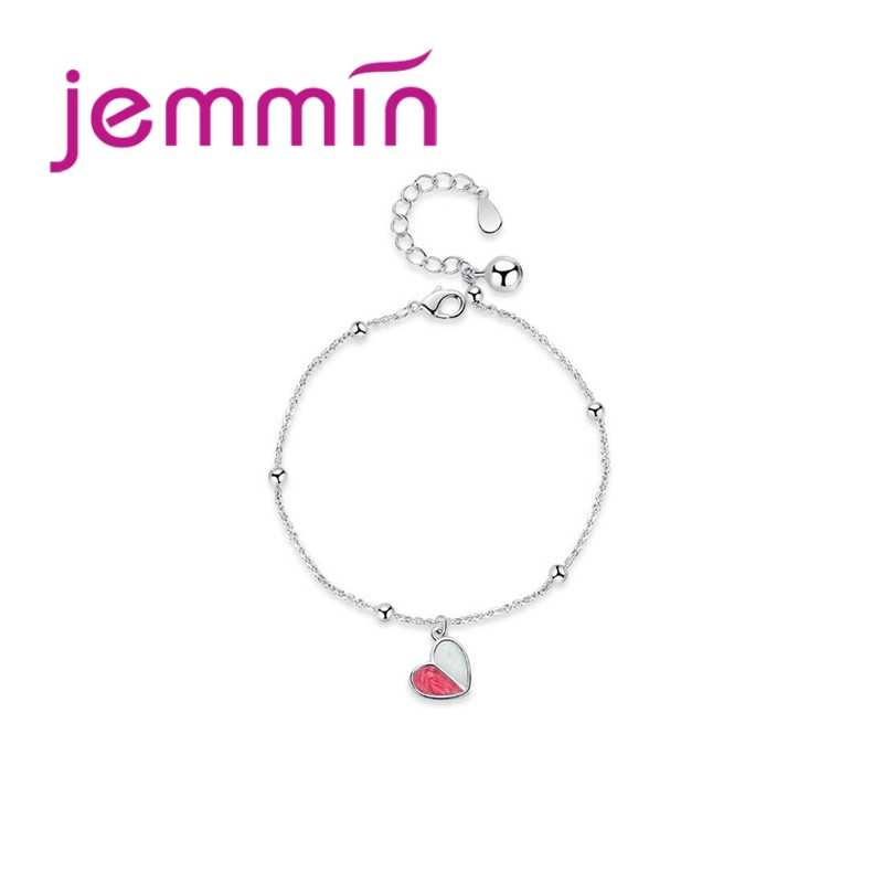 Beautiful 925 Silver Pink Heart Pendant Adjustable Bracelets For Charming Women Girls Romantic Valentines Day Gift