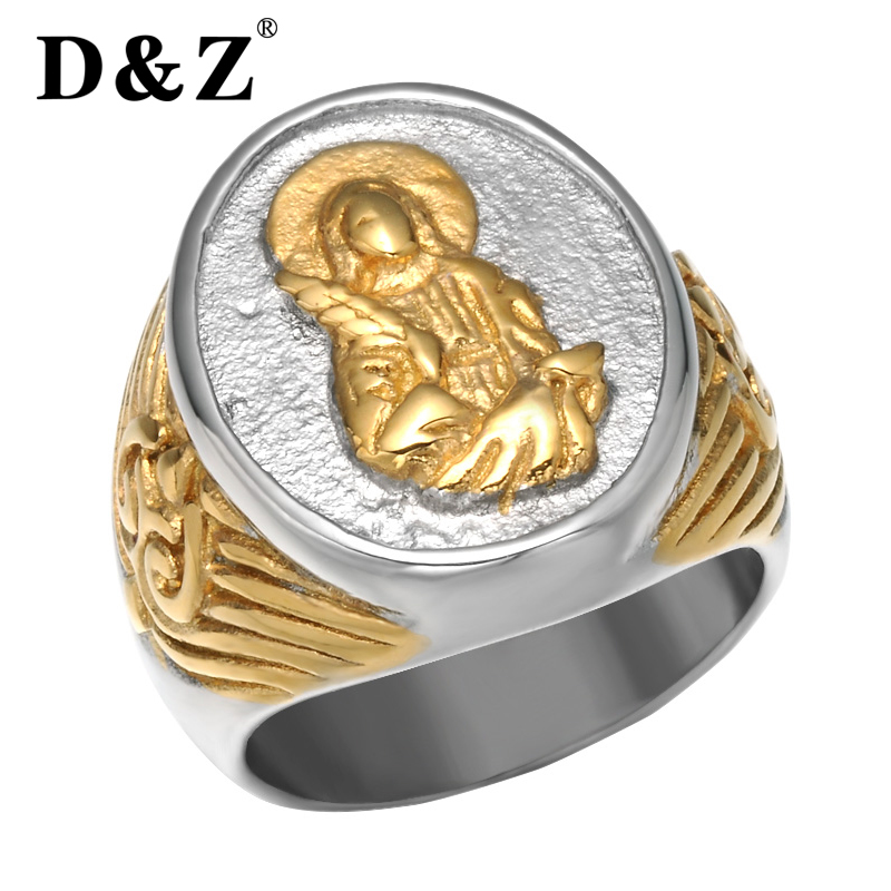 & Religious Virgin Mary Ring Gold Stainless Steel Jesus