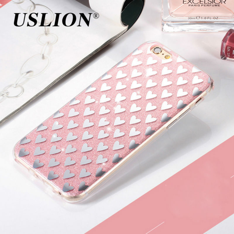 USLION Bling Glitter Case For iPhone 7 Cute Love Heart Shinning Hard PC Phone Cases Back Cover For iphone7 6 6s Plus 5 5s SE