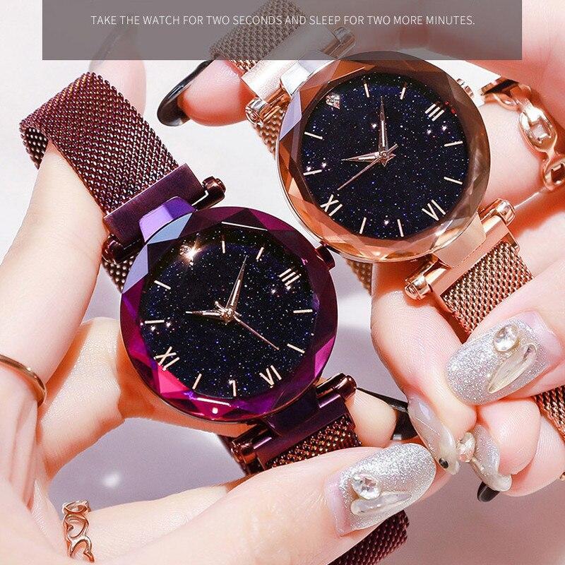 Reloj Mujer роскошные женские часы Звездное небо магнитная сетка ремешок Часы женские модные наручные часы женские часы