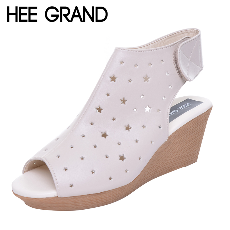 HEE GRAND Women Gladiator Sandals Wedges Heel Platform Peep-toe Summer Style Shoes For Woman XWZ3621 phyanic 2017 gladiator sandals gold silver shoes woman summer platform wedges glitters creepers casual women shoes phy3323