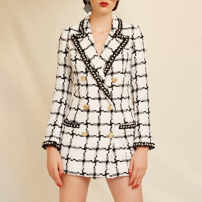 Black White Tweed Pearl Edge Locking Gold Buckle Decorative Coat Female 2019 Early Autumn New Product Fashion Suit Jackets Women