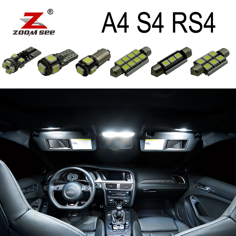 Perfect White Canbus Error Free LED bulb interior dome map overhead light Kit for <font><b>Audi</b></font> <font><b>A4</b></font> S4 RS4 <font><b>B5</b></font> B6 B7 B8 (1996-2015) image