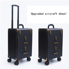 Women large capacity Trolley Cosmetic case Rolling Luggage bag,Nails Makeup Toolbox,Multi-layer Beauty Tattoo Trolley Suitcase(China)