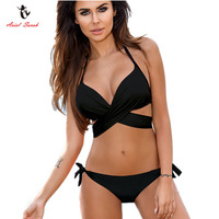 Ariel Sarah Brand Push Up Bikini Set Halter Swimsuit Women Plus Size Swimwear Patchwork Bathing Suit