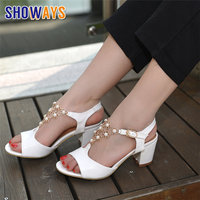 White Women Sandals High Square Block Heel Pink Pearl Flower T strap Open Toe Office Wedding Party Summer Buckle Ladies Sandalia