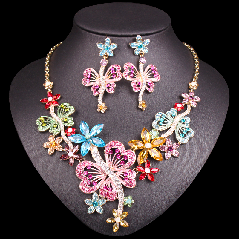 Elegant Butterfly Bridal Jewelry Sets Wedding Party