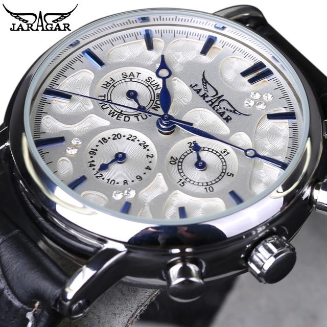 2016 JARAGAR Luxo Orologio Uomo homens 6 Mãos Auto Mecânica Relógios de Pulso de Couro Vestido Diamante Relógio de Pulso Mecânico