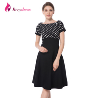Berydress Elegant Women Cocktail Party Boat Neck Short Sleeve Midi Knee Length Picnic Outdoor 1950s Vintage