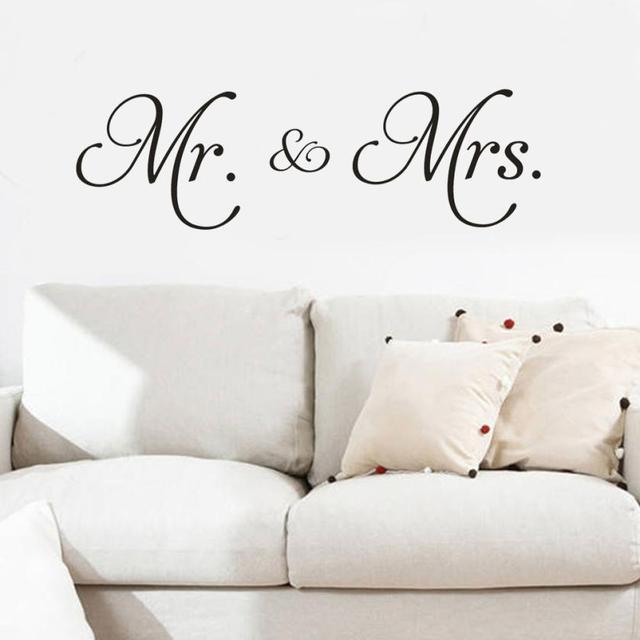 Mr & Mrs Vinyl Decal dán tường trang trí phòng khách có thể tháo rời hiện đại Sự Tối Giản dán tường cho phòng ngủ Trang Trí Nhà Wandaufkleber