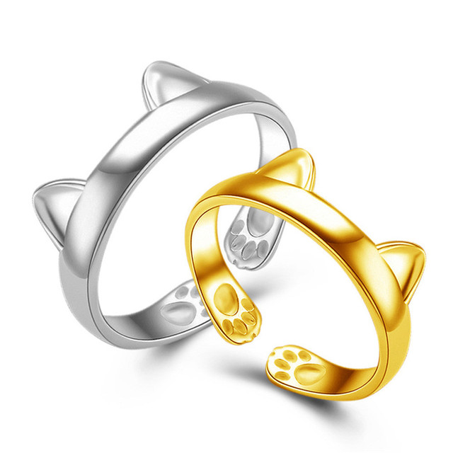 HOT Brand 2018 New Silver Plated CAT EARS RING Thumb Ring Adjustable Pet Gift 10