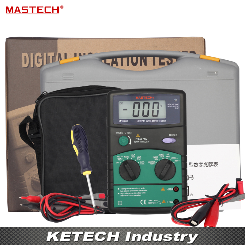 Digital Megger , Insulation Resistance Tester , Sound and Light Alarm MASTECH MS5201 mastech ms5201 digital insulation resistance tester megger megometro mega ohm sound and light alarm genuine