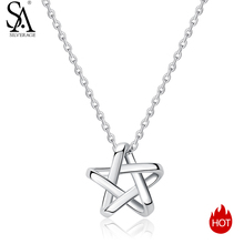 SA SILVERAGE Pendant Chain Necklace Women Chokers 925 Sterling Silver Long Necklaces Pendants Fine Jewelry Star 925 Silver Maxi silverage real 925 sterling silver star jewelry sets for women fine jewelry star necklaces couple jewelry wedding gifts