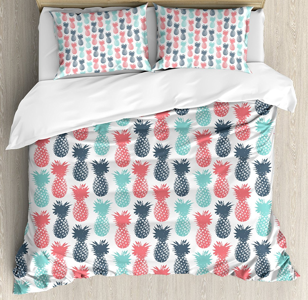 Pineapple Duvet Cover Set Island Pineapple Tropic Fruit Pattern Stamped Minimal Backdrop Pop Art 4 Piece Bedding Set