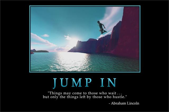 DIY frame Jump In MOTIVATIONAL Inspirational Poster Art Silk Wall