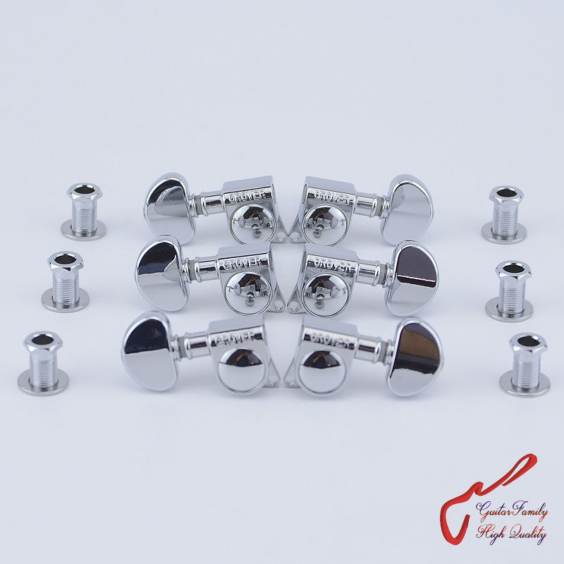 1Set  3R-3L Genuine Grover Guitar  Machine Heads Tuners  1:18  Chrome  ( Without Original Package )