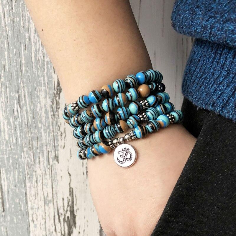 Us 10 17 19 Off Solar System Stripe Stone Wrap Around Yoga Bracelet Men 108 Beads Mala Malachite Om In Bracelets From Jewelry