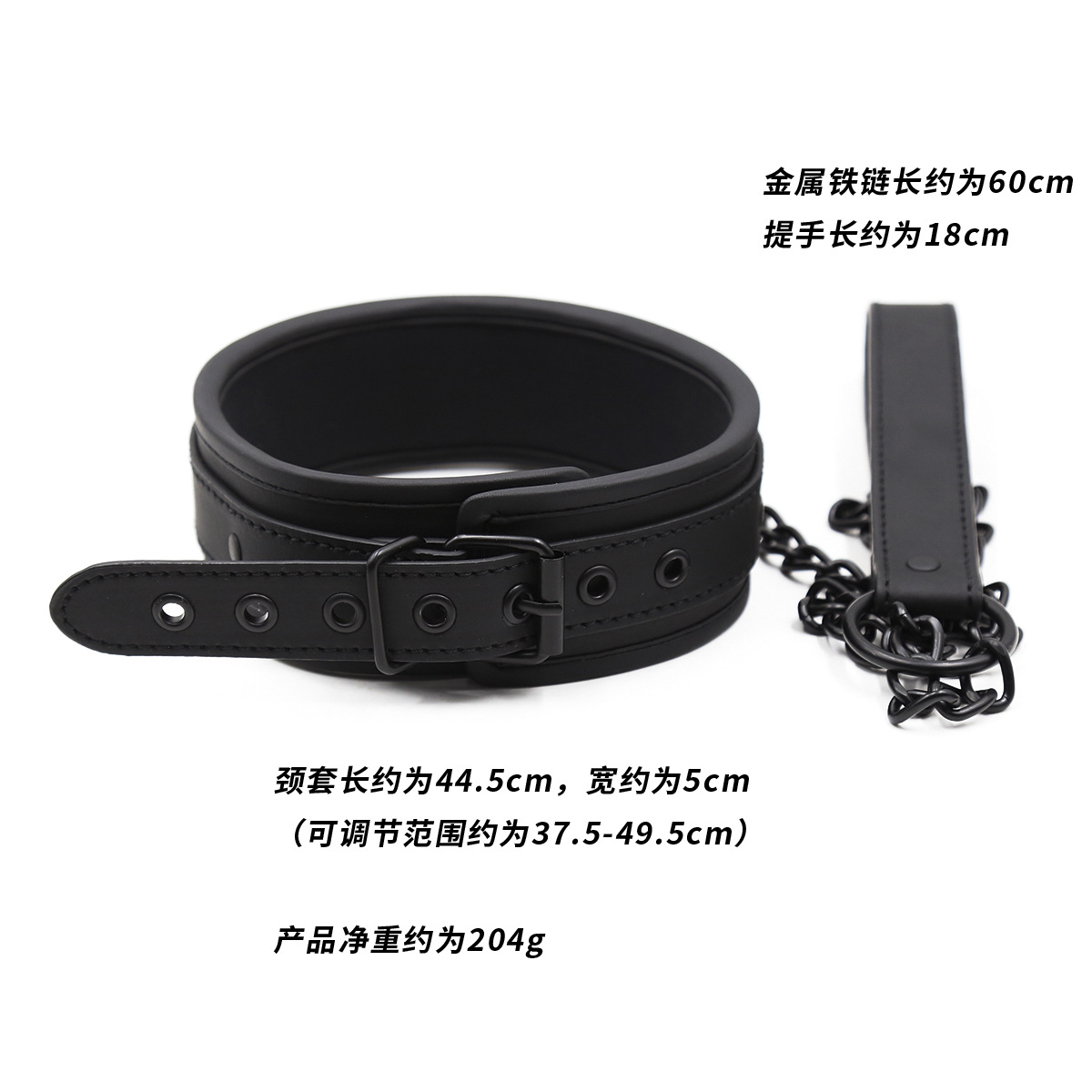 New Sponge Edging Sexy Leather BDSM Collar - Stomata all Black Pin Buckle Neck Set with Traction Chain, Bondage Gear & Accessories for Erotic Roleplay Games, Adult Sex Toys for Couples