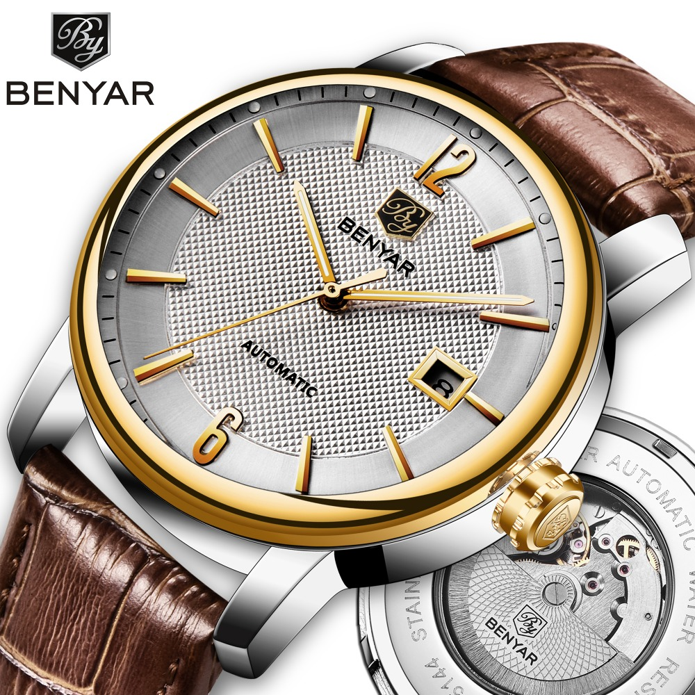 Relogio Masculino BENYAR Casual Fashion Men s Watches Automatic Mechanical Top Luxury Brand Sports Clock Leather