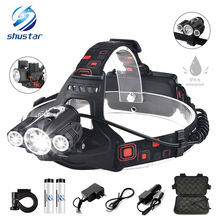 Super bright Bicycle front light 4 modes LED headlight Waterproof Bike 3 head headlights rechargeable dual-use lamp