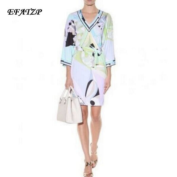Luxury Brand Runway Dress Women s V Neck Colorful Geometric Print Color Block Jersey Silk Casual