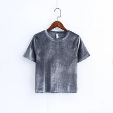 Summer 2018 Autumn women Sexy velvet color fashion short sleeve t-shirt Tube camisole tshirt tops crop top t-shirts