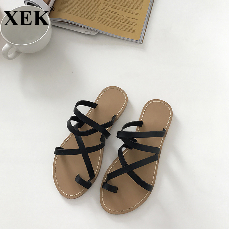XEK 2018 New Women Summer Non-slip Platform Shoes Flats Slides Woman Outdoor Beach Slippers Sandals Sapato Feminino JH257