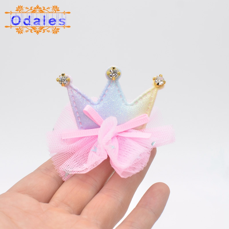 9Pcs Rainbow Crown Padded Appliques with Shiny Diamond Mesh Dress Patches for Headwear Decoration Handmade Hair Accessories