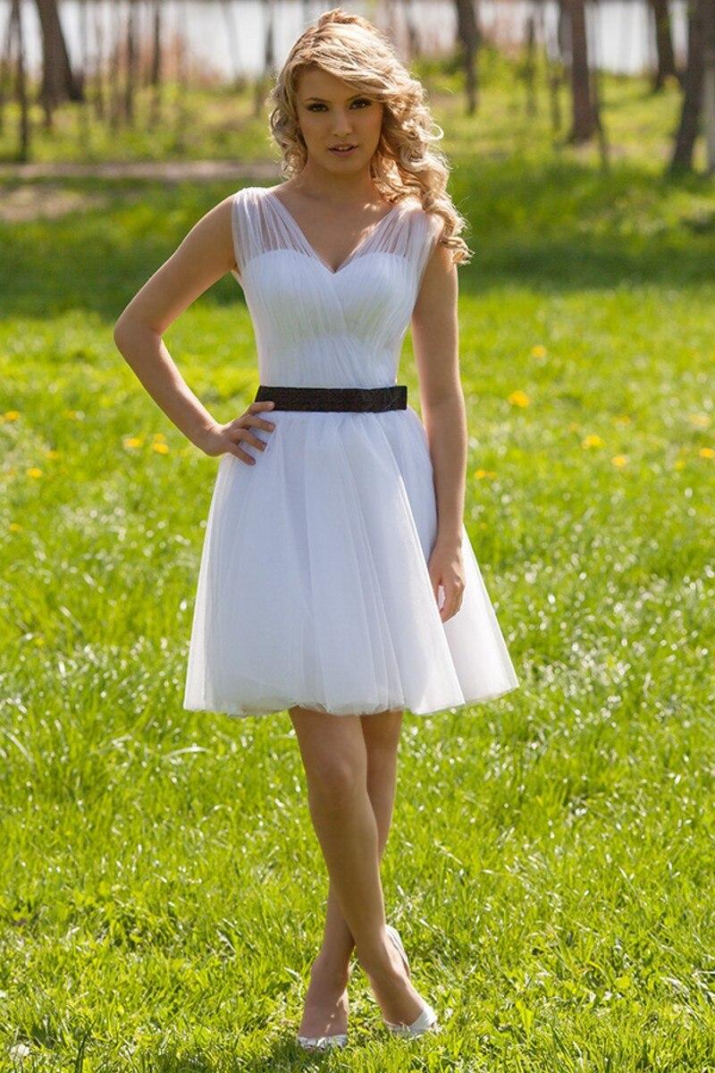 Sexy Mini Bride font b Dress b font with Poet Straps vestidos de boda High Quality