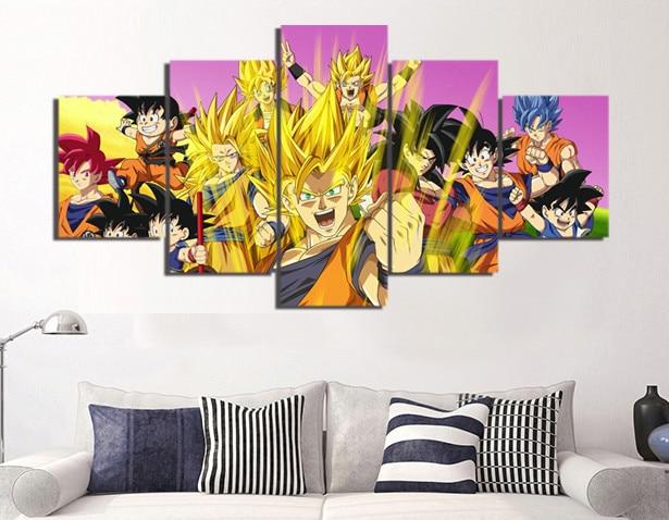 Size1 AREABP 5 St/ück Animation Goku Dragon Ball Leinwand Gedruckt Wandbilder Wohnkultur F/ür Wohnzimmer Modulare Poster- mit Rahmen