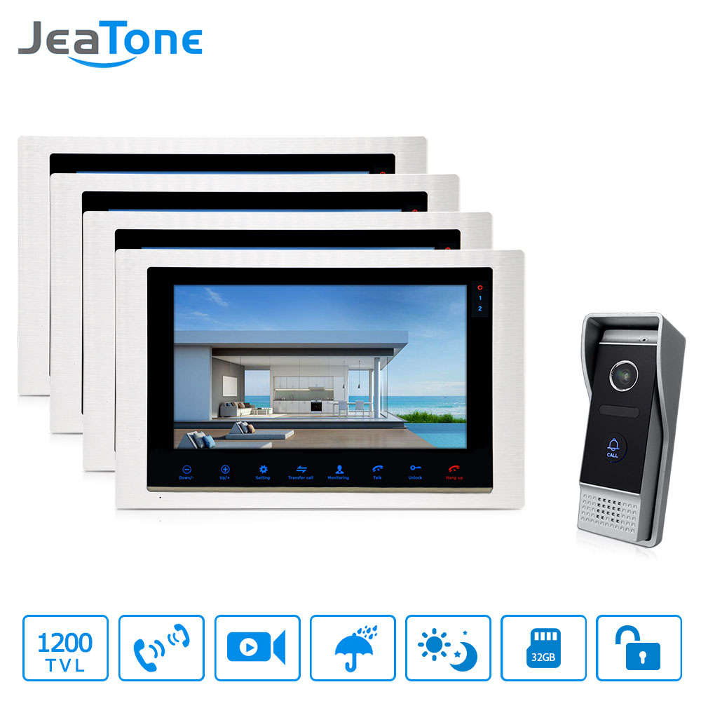 JeaTone 10'' Recording Intercom System Video Door Phone LCD Monitor 1200 TVL Night Vision Camera Video Intercom Doorbell 7tft lcd free disturb wired audio video door intercom system with night vision monitor doorbell for 10 apartments of 1 building