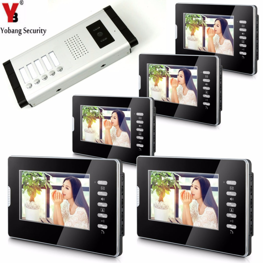 YobangSecurity Video Door Intercom 7Inch Monitor Video Doorbell Door Phone Speakphone Camera Intercom For 5 Units Apartment yobangsecurity 5 units apartment video intercom 7 inch lcd wifi wireless video door phone doorbell video recording app control
