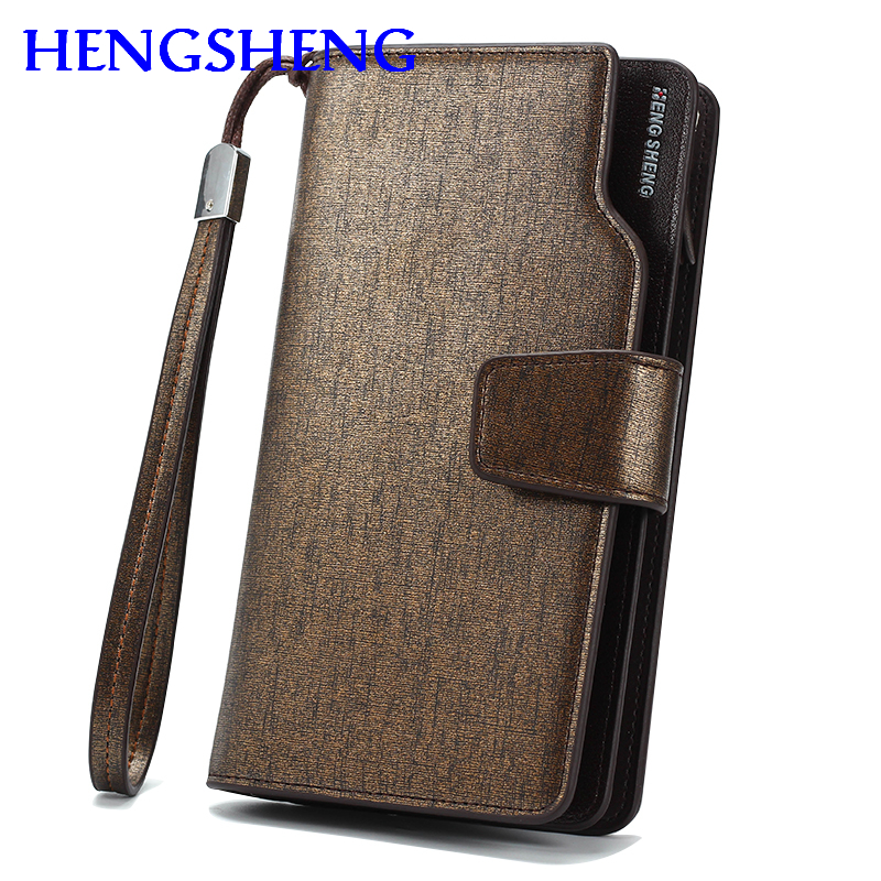 Free shipping HENGSHENG luxury font b leather b font men wallet for cheap price men long