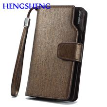Free shipping HENGSHENG luxury leather men wallet for cheap price men long wallet with pu leather card holder men handbags