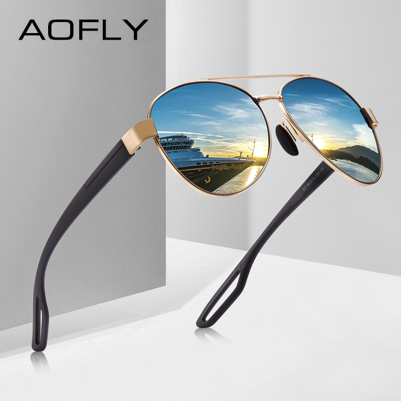 AOFLY Men Vintage Metal Polarized Sunglasses Classic Brand Pilot Sun glasses Male TAC Lens Driving Shades For Men/Women AF8193