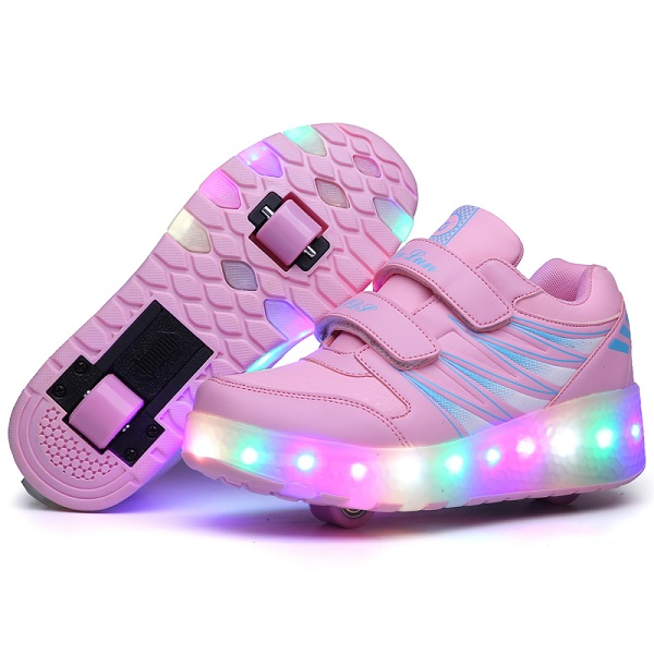 GSCH Kids Sneakers roll Luminous USB Charging LED Light Shoes Casual Girls Sneakers Colorful Lighted Boy Shoes Chaussure Enfant children luminous sneakers shoes with backlight pu leather led charging fashion sneakers children shoes chaussure led enfant