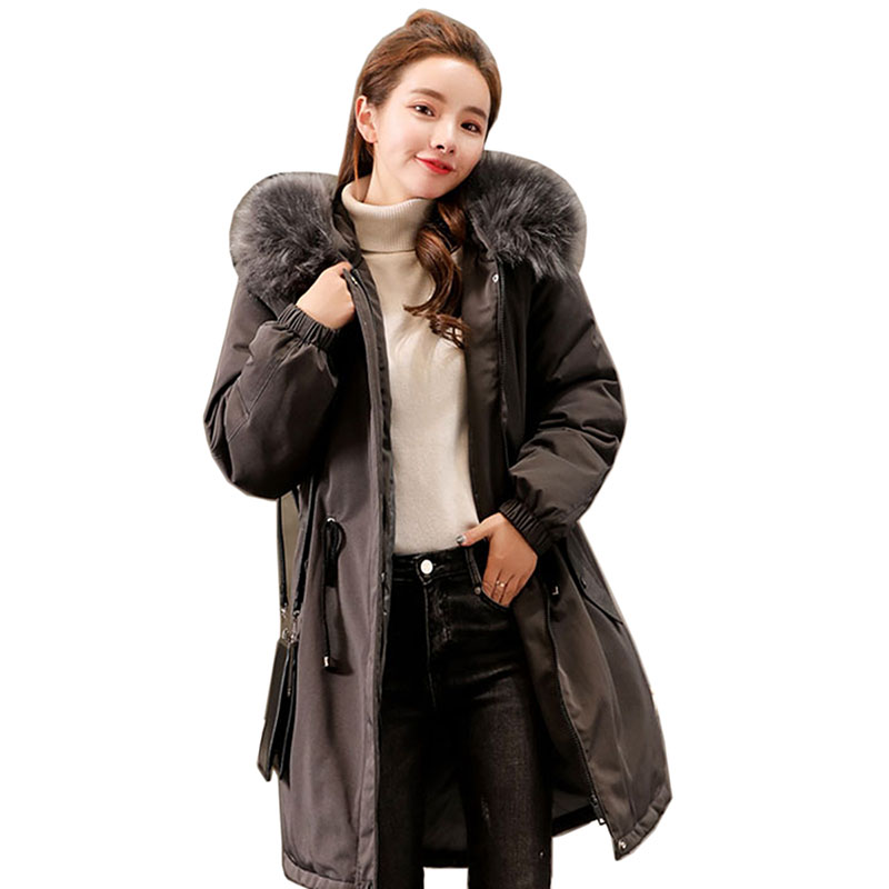 2018 New Autumn Winter Jacket Coat Women   Parka   Woman Clothes Solid Long Jacket Slim Plus Size Women's Winter Jackets And Coats