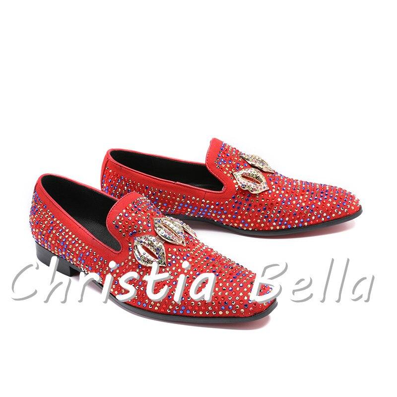 Vermelho Genuínos Couro De Bella Homens Christia Strass Preto Moda Festa Sapatos Casamento Chinelos Grife vermelho Masculina Dos pwxxqCAU