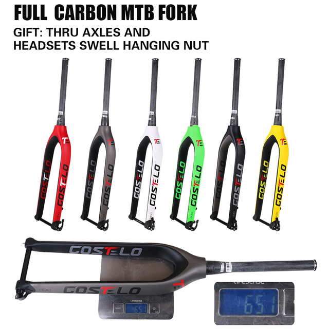 2017 Costelo Full Carbon mtb fork 29er Mountain Bikes Rigid fork for bicycle parts Thru Axle 15mm bicycle front rock shox fork
