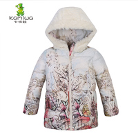 2015 Winter 80 White Duck Down Girls Coats Wool Like Hooded Jackets Cotton Padded Parkas Children