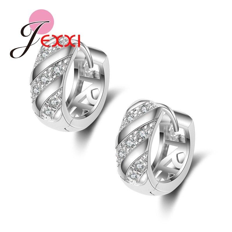 Fashion 925 Sterling Silver Small Earrings Generous Luxury Earring Stud For Women/Girl Ear Jewelry Shiny Crystal Earring