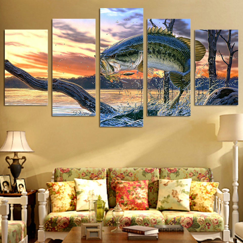 Fish Jump Out Water With Withered Tree In Sunset Wall Art Painting ...