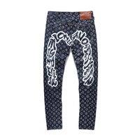 2018 Evisu Брендовые джинсовые брюки мужские свободные Модные Длинные повседневные мужские джинсы байкерские прямые с принтом Длинные мужские