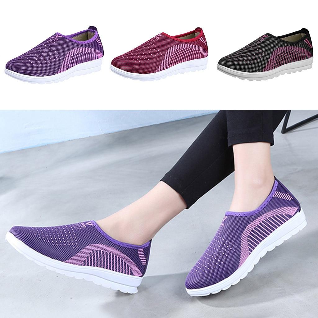 Women's Cotton Fabric Mesh Flat With Cotton Casual Walking Stripe Sneakers Loafers Soft Shoes Plus Size 36-41 Sandalia Feminina