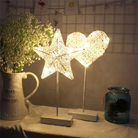LAIDEYI 40CM Star Heart Shape Grass Rattan Woven LED Night Light Battery Power Girls Bedroom Decorative