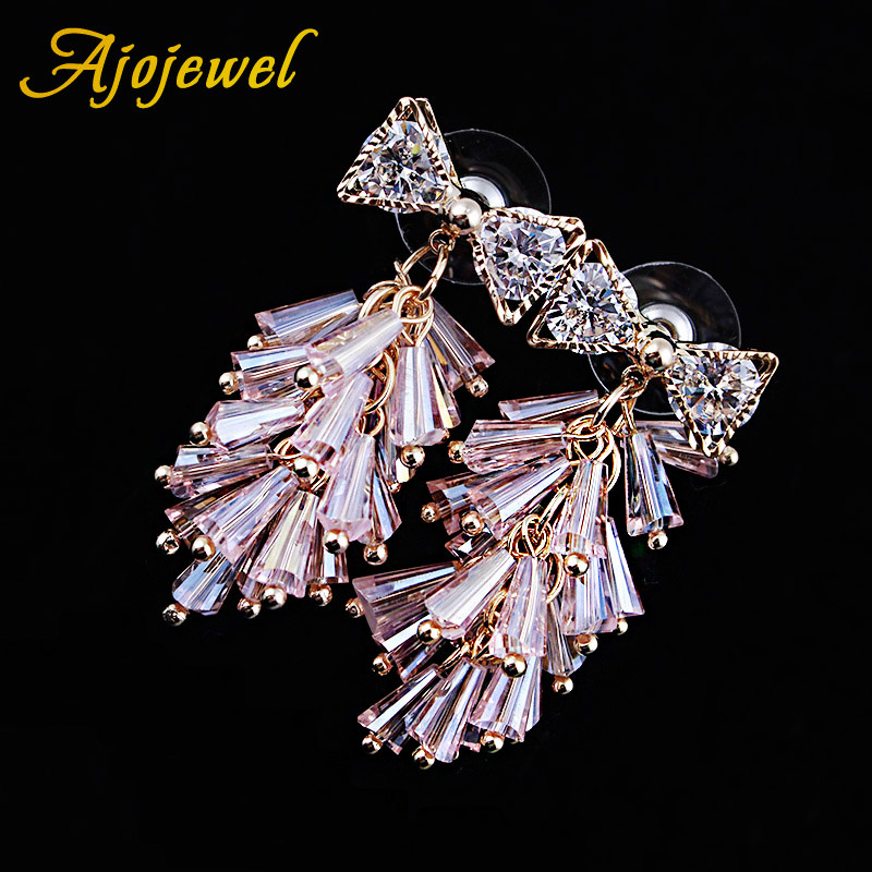Ajojewel High Quality Zircon Bowknot Crystal Tassel Earrings For Women Jewelry Pink White Black Blue Colors Relieving Heat And Thirst. Earrings Jewelry & Accessories
