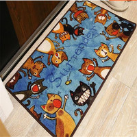 Free Shipping Hot Sale Nylon Cartoon Cat Doormat Cute Door Floor Mat Set Hallway Bedroom Bathroom