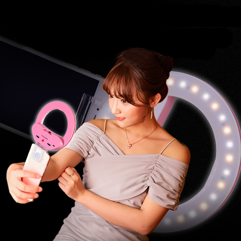 MP3C Professional Portable Led Bicolor Phone Photo Selfie Ring Light with Mirror Photography Light for font